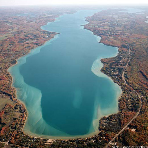 torch lake aerial view