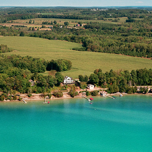 torch lake view shoreline